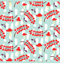red currant and amanita on blue seamless vector image