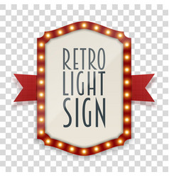 Retro light sign with lamps and red ribbon vector