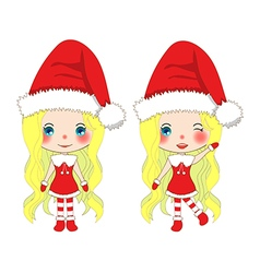 Santa Girl Christmas Outfit Pompom hat vector image vector image
