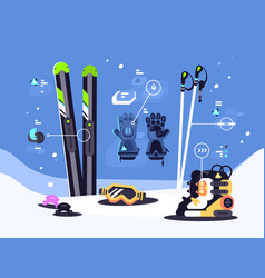 Set of equipment for skiing vector