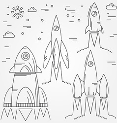 Set rockets thin line icon Human Space Flight For vector image vector image