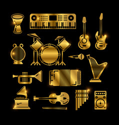 shiny golden classic music instruments vector image vector image