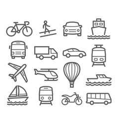 Transport Line Icons vector image vector image