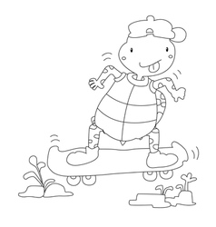 Turtles play skateboarding vector