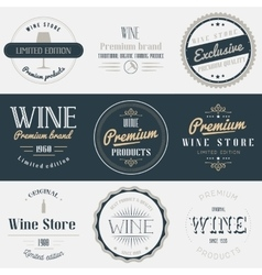 Wine drink labels set brands design elements vector