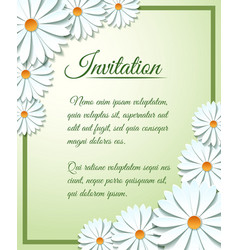 Invitation card template with paper flowers vector