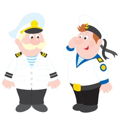 Sea captain and sailor vector