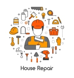 House repair renovation line art thin icons set vector