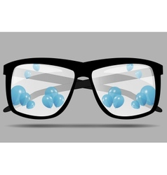 Sunglasses with blue balloons vector image