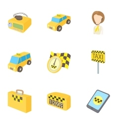 Taxi custom icons set cartoon style vector