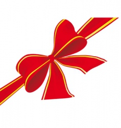 Big bow of red ribbon vector