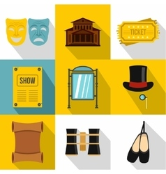 Concert icons set flat style vector
