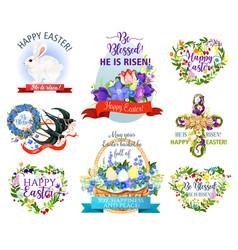 Easter holiday symbols cartoon icon set design vector