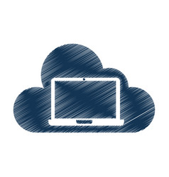 cloud computing with laptop vector image