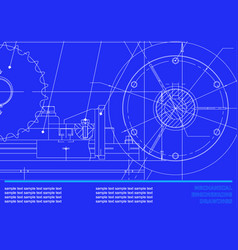 drawing mechanical drawings on a dark blue vector image