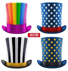 Set of magic hats cylinder vector