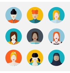 Set of women avatars in flat style different vector