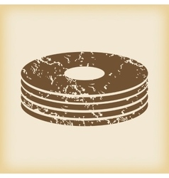 Grungy disc pile icon vector