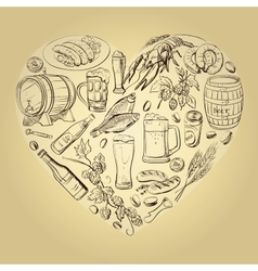 Beer hand drawing heart background vector