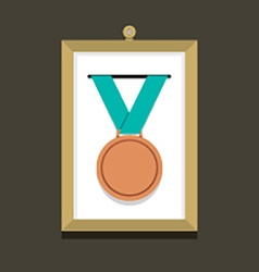 Bronze medal in a picture frame vector