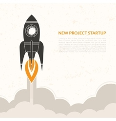 Space rocket launch vintage background vector image