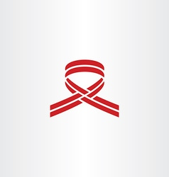 Stylized cancer ribbon red logo icon vector