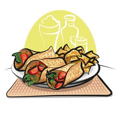Fajitas and nachos chips vector