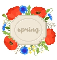 Floral background with pretty spring flowers vector image