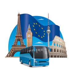 European bus tour vector