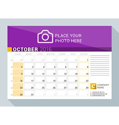 Calendar planner for 2016 year october print vector