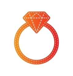 Diamond sign  orange applique vector