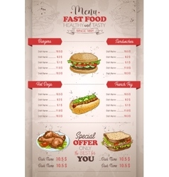 Drawing vertical color fast food menu design vector