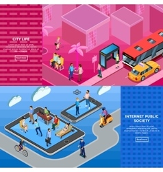 People isometric banners vector