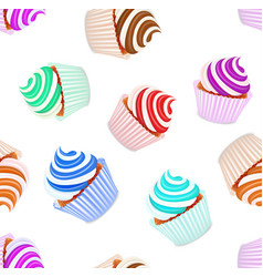 A seamless background set of cupcakes with fruit vector