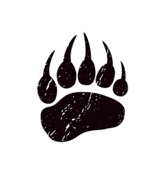 A trace a bear black silhouette of paw vector
