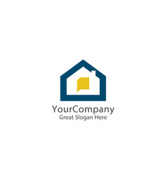 abstract house logo icon design home chat concept vector image