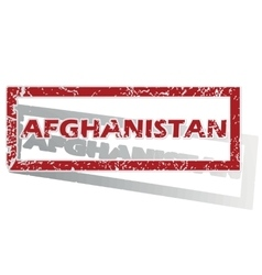 Afghanistan outlined stamp vector