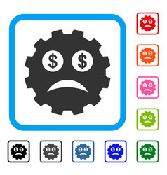 Bankrupt smiley gear framed icon vector
