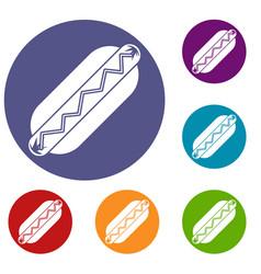 Bun and sausage icons set vector