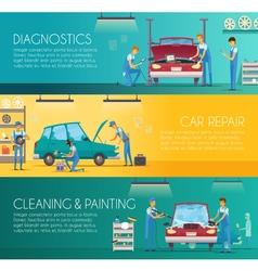 Car repair center retro cartoon banners vector