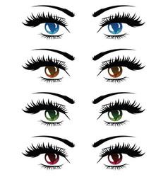 cartoon female eyes set vector image