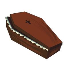 cartoon image of spooky coffin vector image