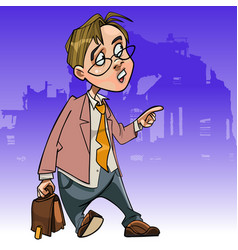 Cartoon man in suit with briefcase pointing vector