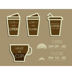 Coffee signs open and closed elements dream vector