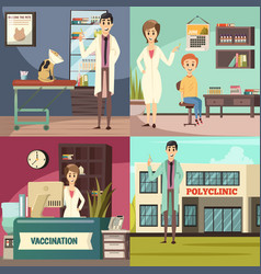 Compulsory vaccination orthogonal icons concept vector