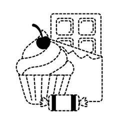 Delicious cupcake with chocolate bar and candies vector