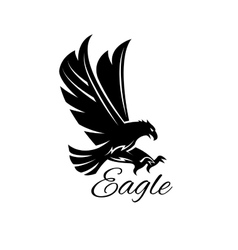 Eagle hawk black heraldic icon vector image