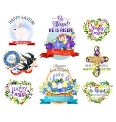 Easter holiday symbols cartoon icon set design vector