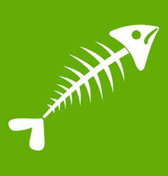 Fish bone icon green vector