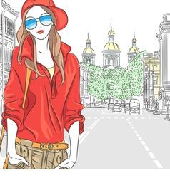 girl in the street in St Petersburg vector image vector image